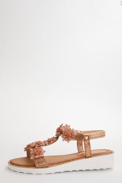 Rose Flower Diamante Flat Sandals